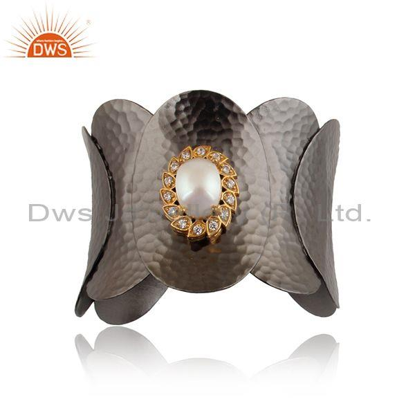 Pearl and cubic zirconia sterling silver rhodium plated cuff