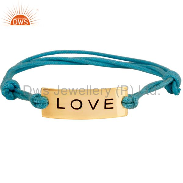 Handmade 18K Gold Plated Wedding Love Symbol Cotton Dori Brass Macrame Bracelet