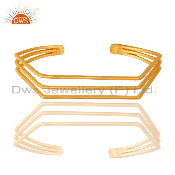 18K Yellow Gold Plated Traditional Handmade Brass Wire Cuff Jewellery