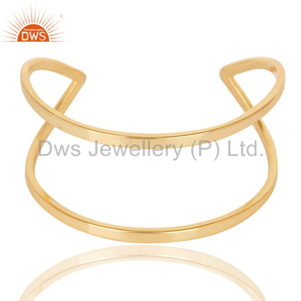 Traditional Handmade 14K Yellow Gold Plated Openable Brass Cuff Jewelry