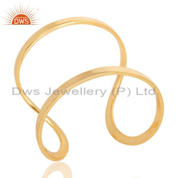 14k yellow gold plated traditional handmade openable brass cuff jewelry
