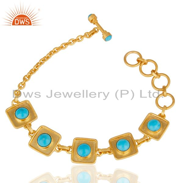14K Gold Plated Traditional Handmade Turquoise Adjustable Bracelet Made In Brass