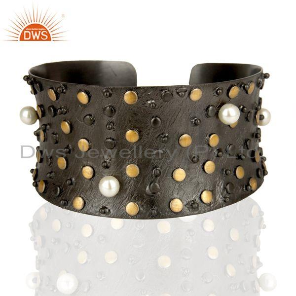Top Quality Black Oxidized Fashion Style Pearl Openable Brass Cuff Made In Brass