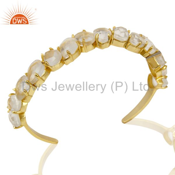 Beautiful 14k gold plated prong set crystal quartz cuff bracelet made in brass