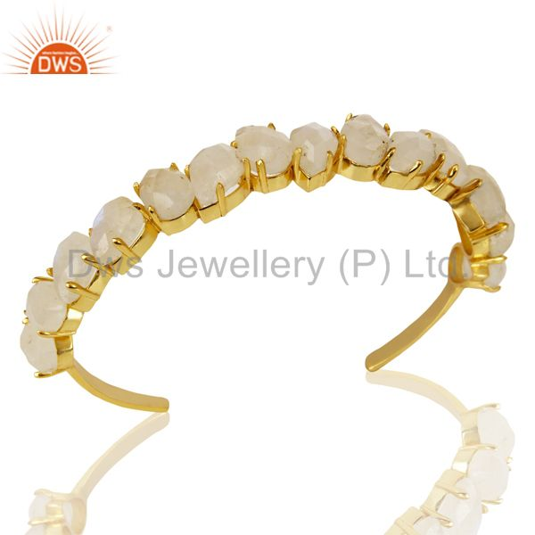 14k gold plated prong set rainbow moonstone cuff bracelets