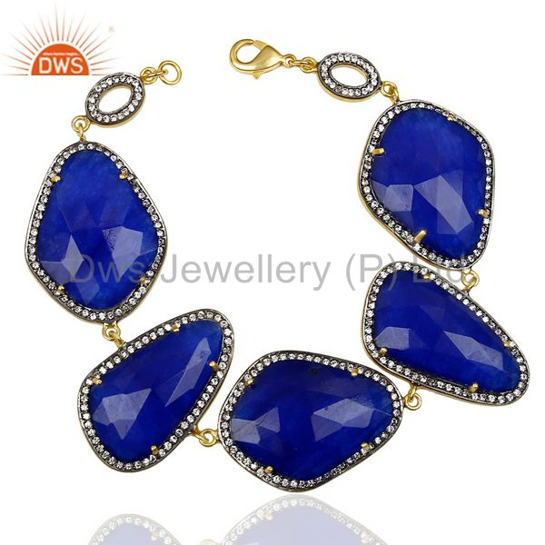 Stunning 14K Gold Plated Handmade Natural Blue Aventurine CZ Fashion Bracelets