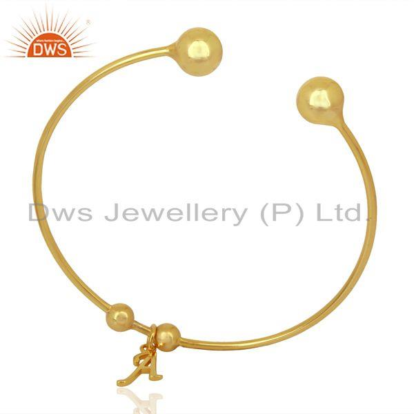 Gold plated a initial openable adjustable wholesale fashion cuff jewelry