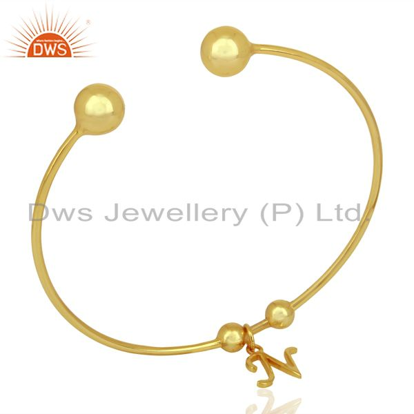 Gold Plated N Initial Openable Adjustable Wholesale Fashion Cuff Jewelry