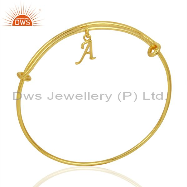Gold plated a initial openable adjustable wholesale fashion bangle