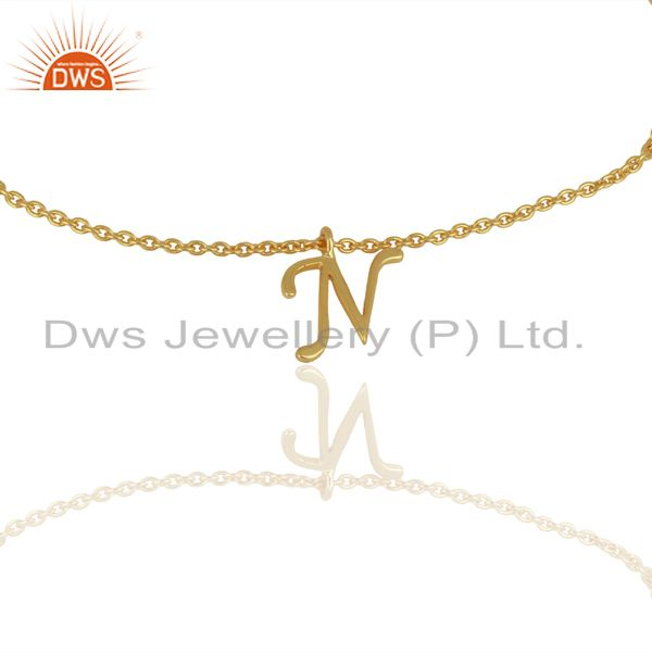 Gold Plated N Initial Simple Chain Wholesale Fashion Bracelet Jewelry
