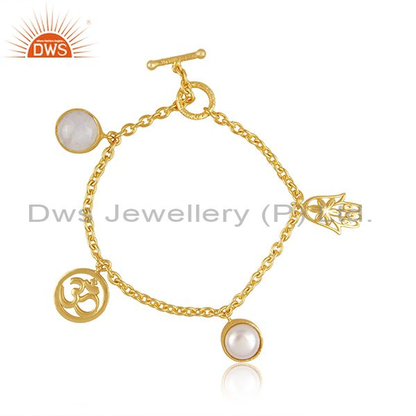 Pearl with Om Charms 18k Gold Plated Brass Fashion Jewellery Bracelet