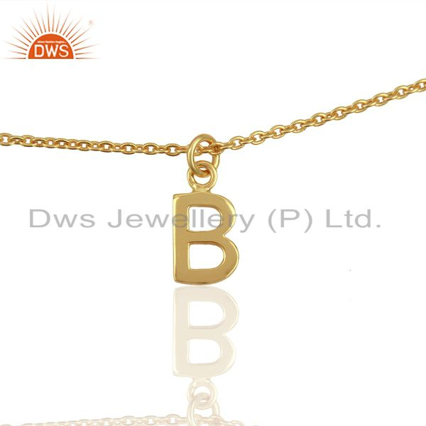 Gold Plated B Initial Simple Chain Wholesale Fashion Bracelet Jewelry