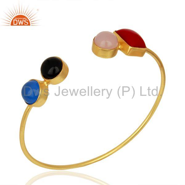 Multi Gemstone Gold Plated Brass Fashion Cuff Bangle Manufacturer