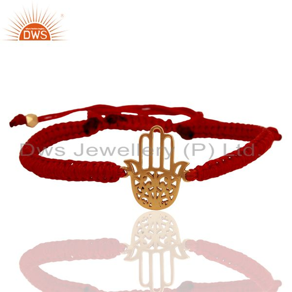 Handmade gold plated hamsa charm macrame bracelet supplier