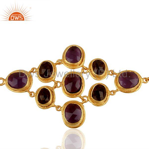 Handmade Gold Plated Brass Fashion Gemstone Bracelet Manufacturers