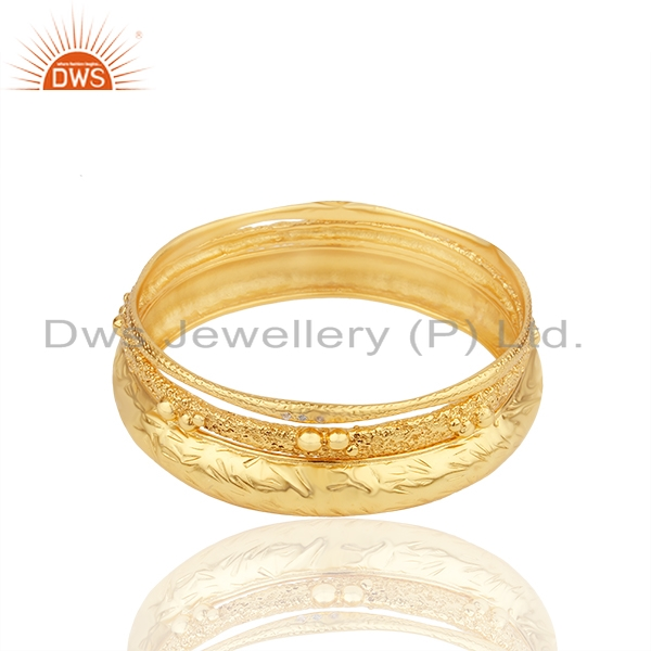Handmade 18k gold plated brass fashion cz three bangle set jewelry