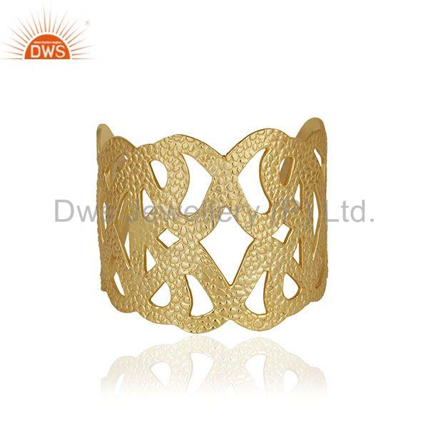 Handcrafted Brass 18k Gold Plated Fashion Cuff Bracelet Manufacturer