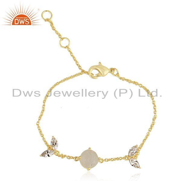 Gold Plated Brass Rainbow Moonstone Chan Link Fashion Bracelet Wholesale