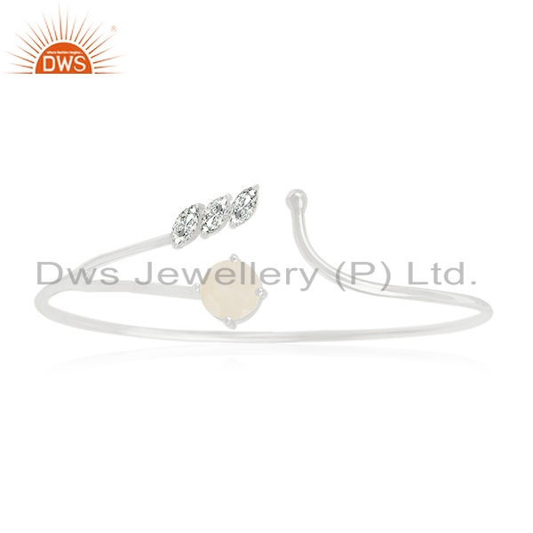Silver Plated Brass Designer Zircon and Moonstone Cuff Bangle Manufacturer India