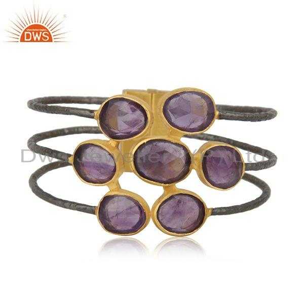 Amethyst gemstone gold plated brass fashion cuff bangle manufacturer india