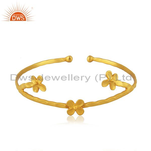 Designer 18k Gold Plated Brass Fashion Handcrafted Cuff Bangle Manufacturers