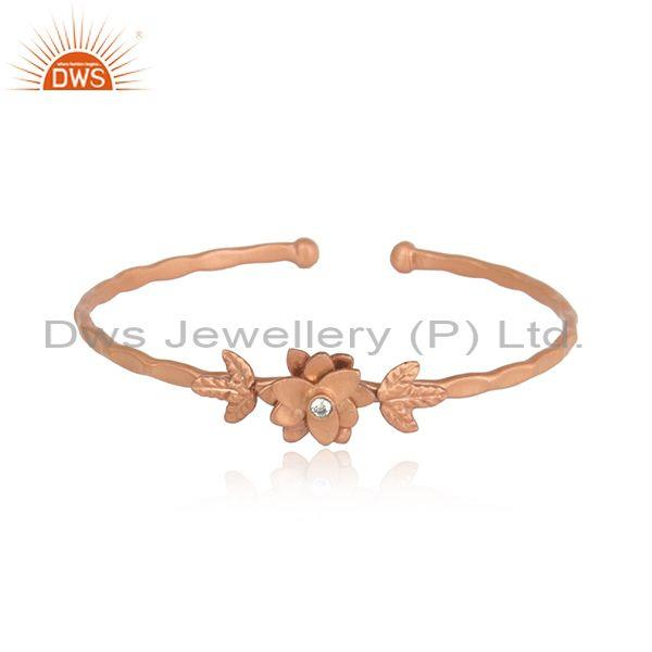 Cubic Zircon Brass Rose Gold Plated Adjustable Cuff Bangle