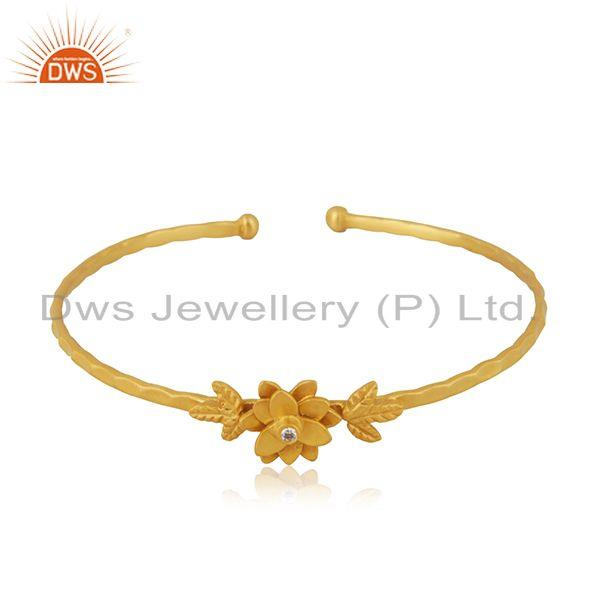 Handcrafted 18k Gold Plated Brass Fashion White Zircon Cuff Bangle Manufacturer