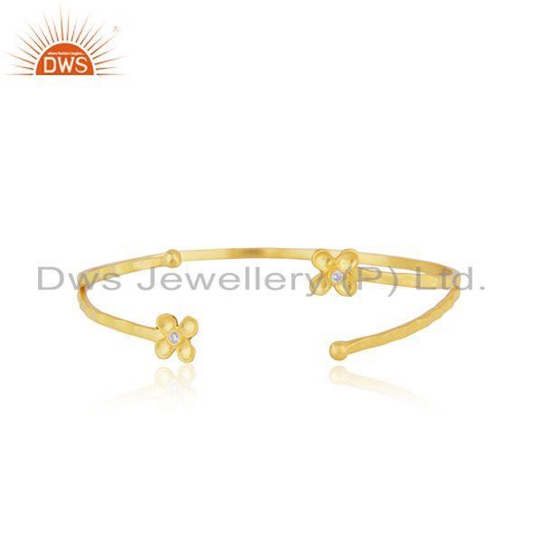 14k Gold Plated Brass Fashion Designer Cuff Bracelet Manufacturer Jaipur