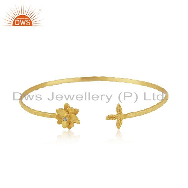 White Zircon Yellow Gold Plated Brass Fashion Cuff Bangle Manufacturer