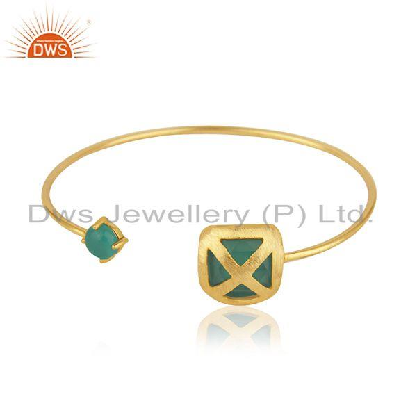 Green onyx gemstone gold plated brass fashion cuff bangle wholesaler