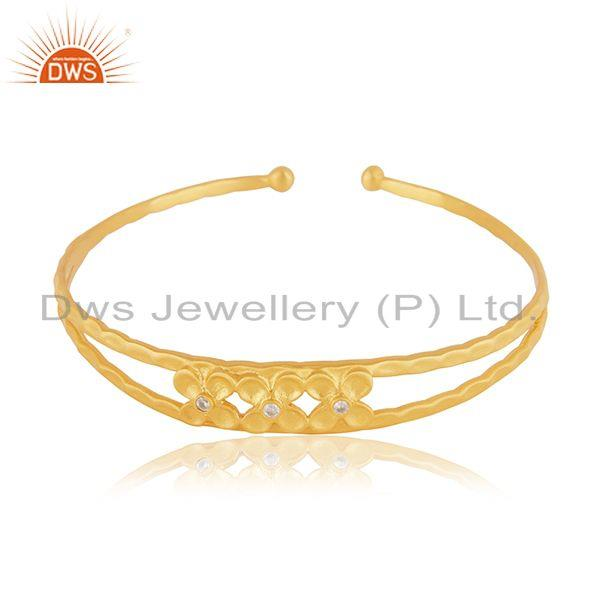 Floral Yellow Gold Plated Brass Cuff Bangle Bracelet Jewelry