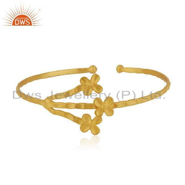 Floral design Handmade Gold Plated Brass Fashion Cuff Bangle Jewelry