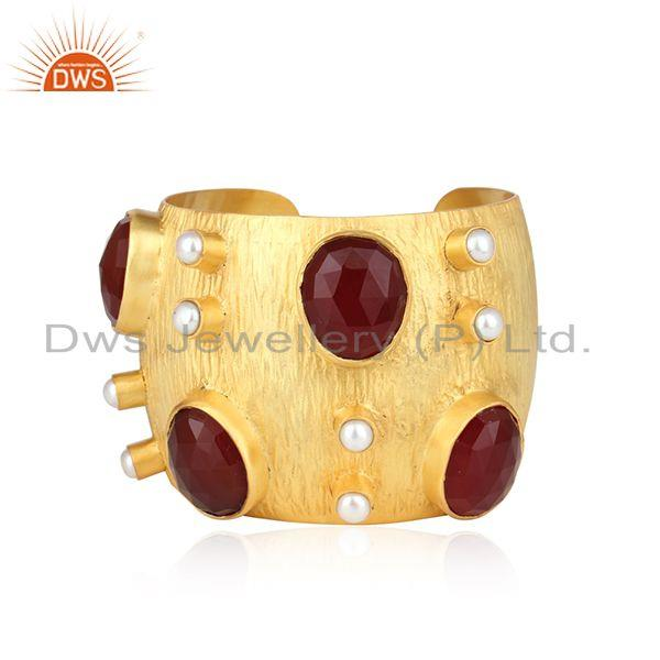 Pearl & Red Onyx Gemstone Texture Gold Plated Fashion Cuff Bracelet