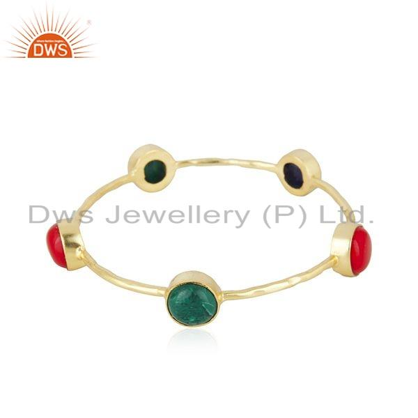 Hydro and coral gemstone gold plated brass designer fashion bangles