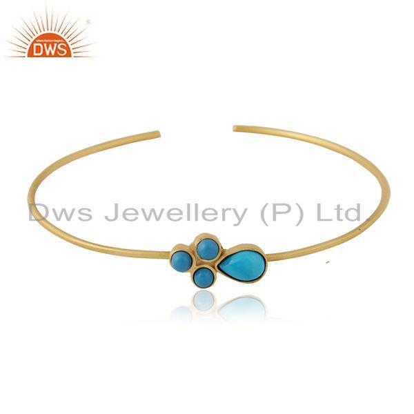Turquoise gemstone designer gold plated brass fashion cuff bangle