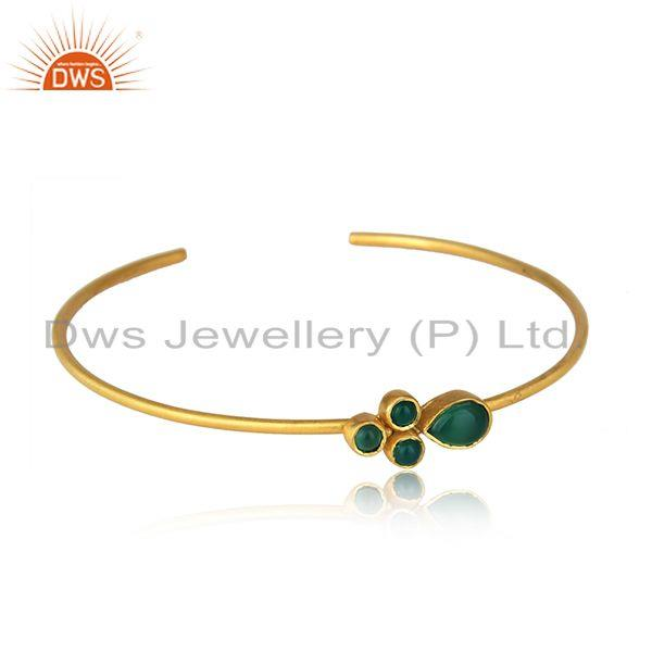 Green Onyx Gemstone Brass Gold Plated Cuff Sleek Bangle Jewelry