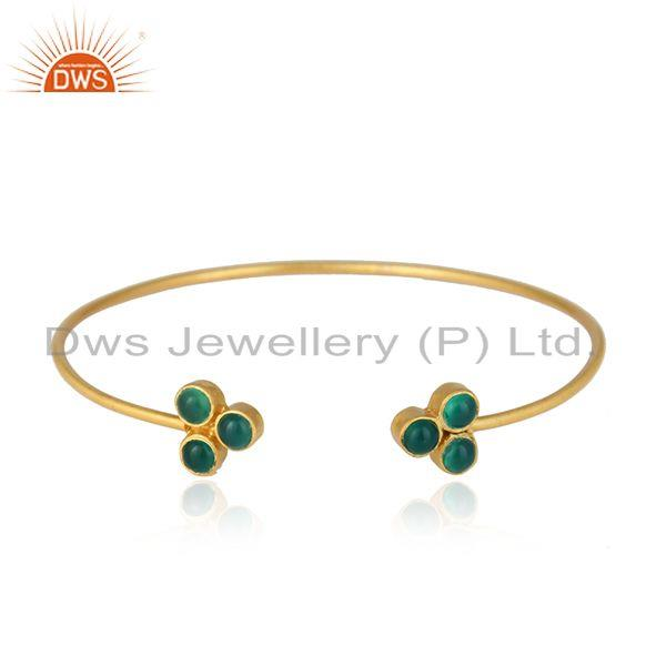Yellow gold plated brass green onyx gemstone fashion cuff bangle