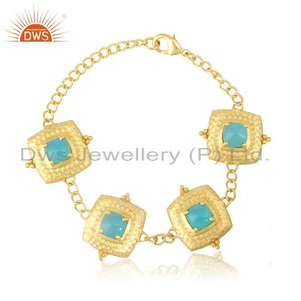 Bold Hammered Fashion Bracelet with Gold on and Aqua Chalcedony