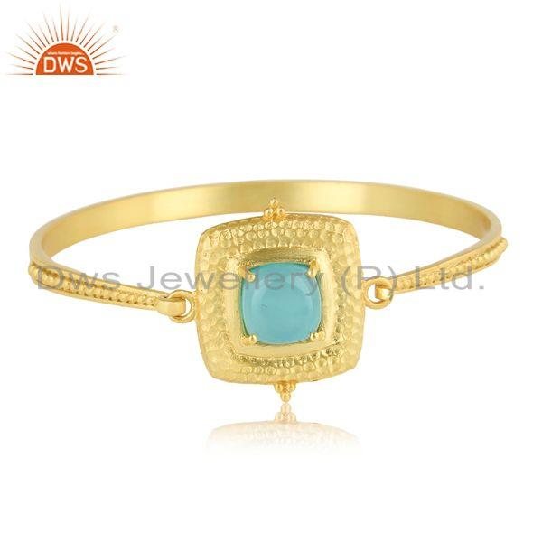 Bold Hammered Fashion Cuff with Gold on and Aqua Chalcedony