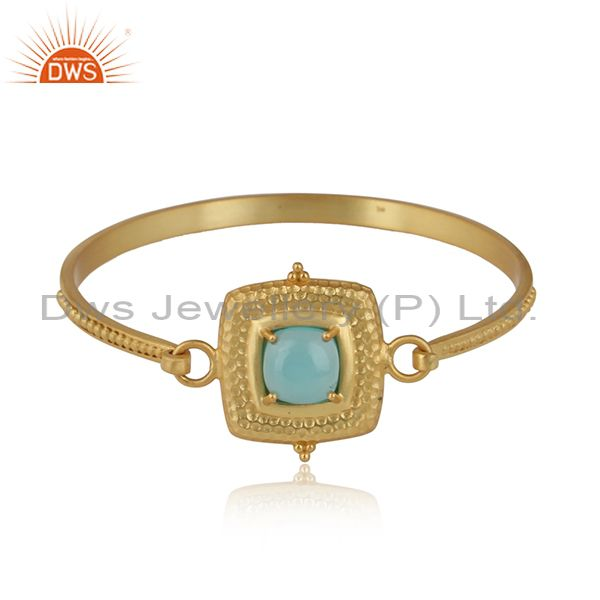 Aqua chalcedony set gold on sterling silver ethnic bangle