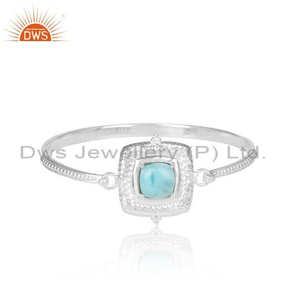 Square Larimar 925 Sterling Silver Statement Cuff Bangle