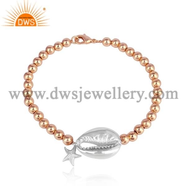 Brass Rose Gold Bracelet With White Gold Bead