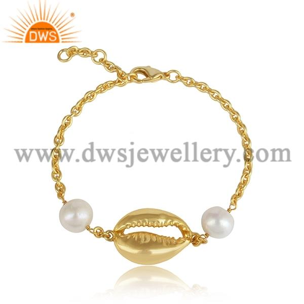 Pearl Set Brass Gold Bracelet
