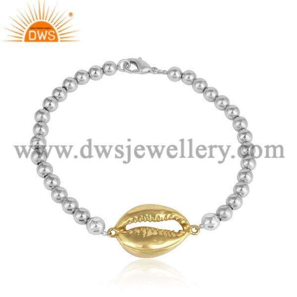 White Gold Bracelet With Brass Gold Bead