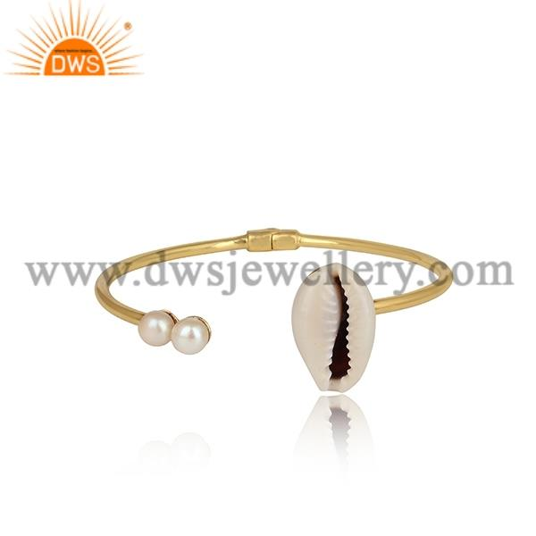 Cowrie And Pearl Facing Brass Gold Cuff