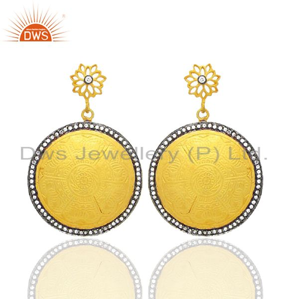 18K Yellow Gold Plated Brass Cubic Zirconia Disc Designer Dangle Earrings