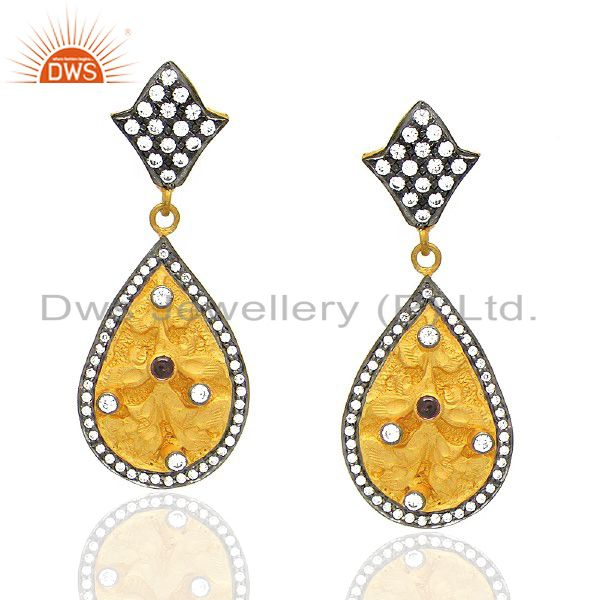 18K Yellow Gold Plated Pink Hydro And CZ Designer Teardrop Earrings