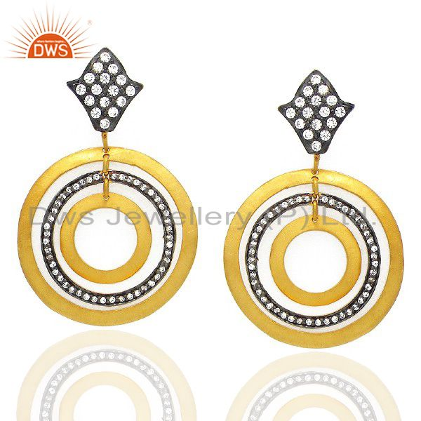 18K Yellow Gold Plated Brass Cubic Zirconia Multi Circle Dangle Earrings
