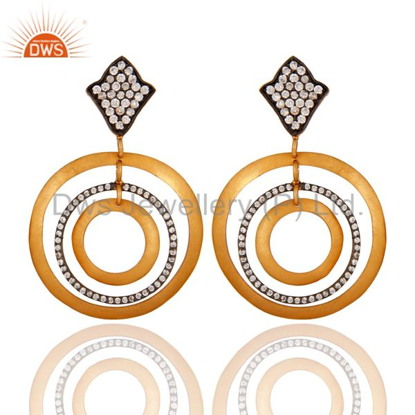 18k Gold Plated 925 Sterling Silver Matte Finish Textured White Zircon Earrings