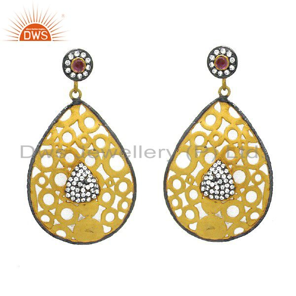 18K Yellow Gold Plated Brass Pink Hydro And CZ Filigree Dangle Earrings